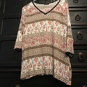 Floral and paisley print top